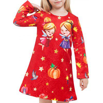 Fairy Print Long Sleeve A Line Dress