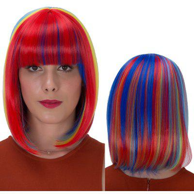 Buy COLORMIX Rainbow Bob Haircut Short Full Bang Straight Synthetic Wig for $22.92 in GearBest store