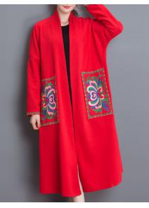 Floral Embroidered Duster Coat