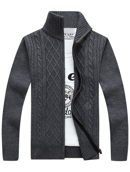 GRAY Stand Collar Zip-Up Cable Knitted Cardigan