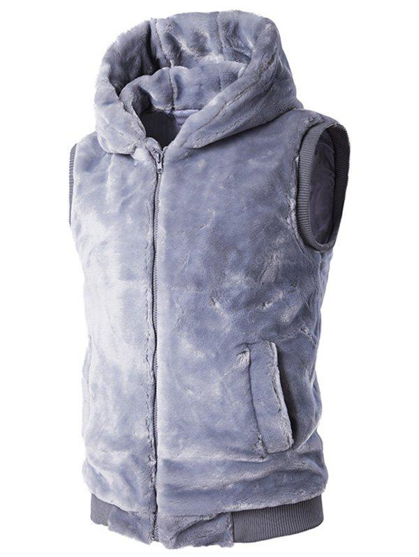 Rib-Hem Zip Up Hooded Plush Fleece Vest