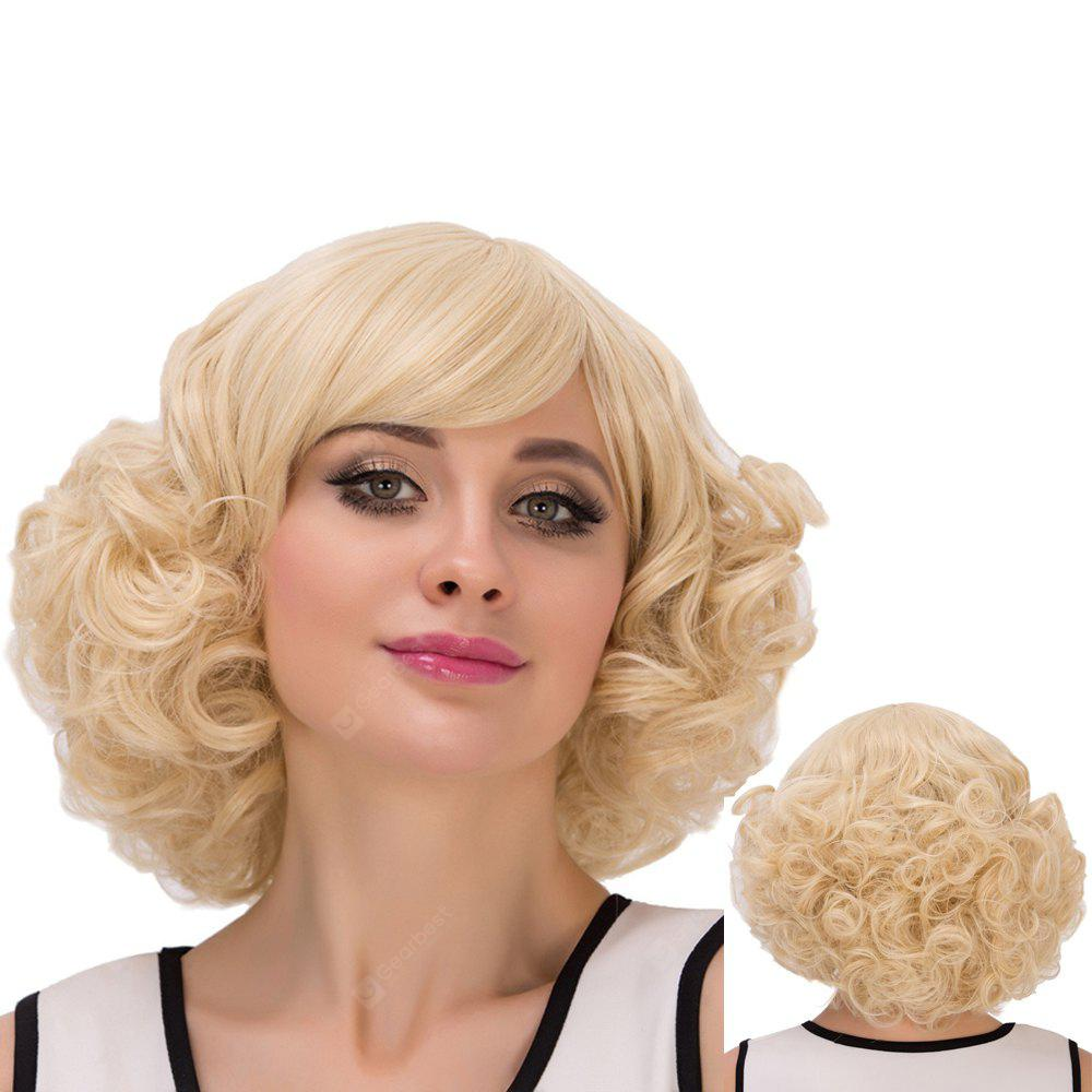 Short Inclined Bang Curly Heat Resistant Fiber Wig