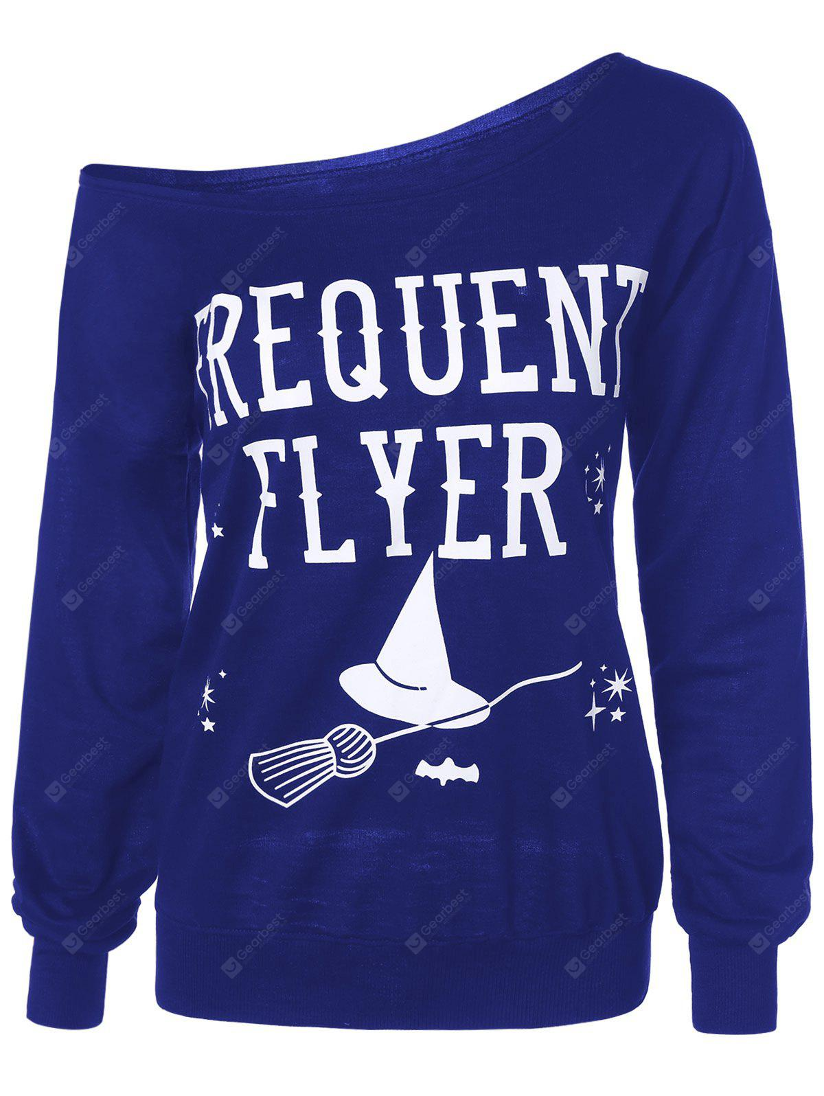 Frequency Flyer Letter Sweatshirt with Skew Neck