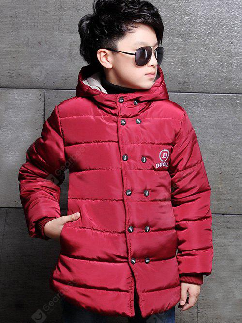 Buttoned Hooded Puffer Coat