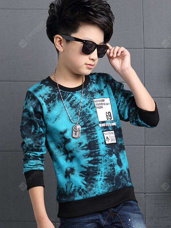BLUE Round Collar Printed T Shirt