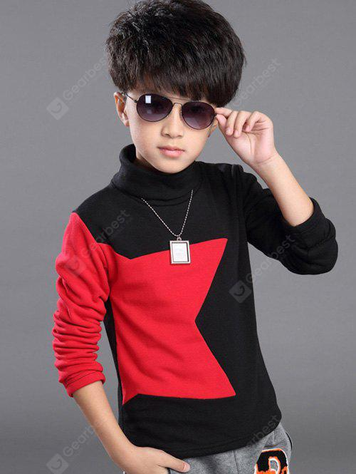 RED Turtle Neck Star Pattern Long Sleeve T Shirt