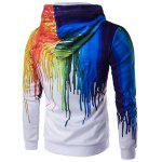 Buy Zip Long Sleeve Paint Dripping Printing Hoodie L WHITE