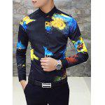 Long Sleeve Slim Fit Printed Shirt - BLACK