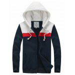 Buy CADETBLUE Hooded Color Splicing Zipper Hoodie for $14.85 in GearBest store