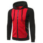 Zip Up Pocket Drawstring Two Tone Hoodie