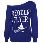 Frequency Flyer Letter Sweatshirt with Skew Neck - BLUE