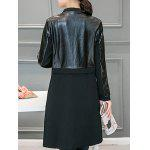 Leather Panel Long Collarless Coat - BLACK