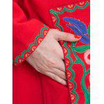 Floral Embroidered Duster Coat - RED
