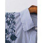 Striped High Low Embroidered Shirt - BLUE AND WHITE