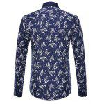 Circinate Print Long Sleeve Button-Down Shirt - CADETBLUE