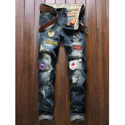 Five-Pocket Patch Design Zipper Fly Ripped Jeans
