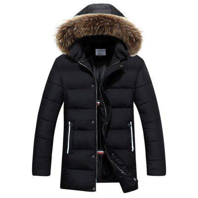 Snap Button Zip Up Faux Fur Hooded Padded Coat