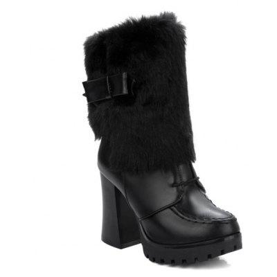 Bowknot Faux Fur Stitching Short Boots