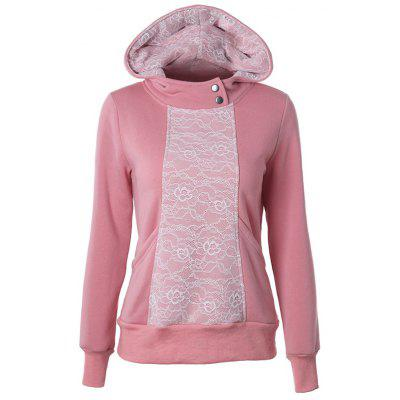 Casual Long Sleeve Lace Spliced Pullover Hoodie
