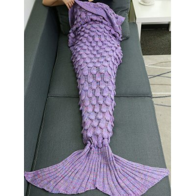 Buy PURPLE Warmth Hollow Out Design Knitted Mermaid Tail Blanket for $20.37 in GearBest store
