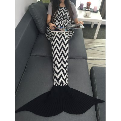 Wave Stripes Jacquard Knitting Mermaid Tail Blanket