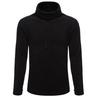 Stand Collar Drawstring Long Sleeve Hoodie