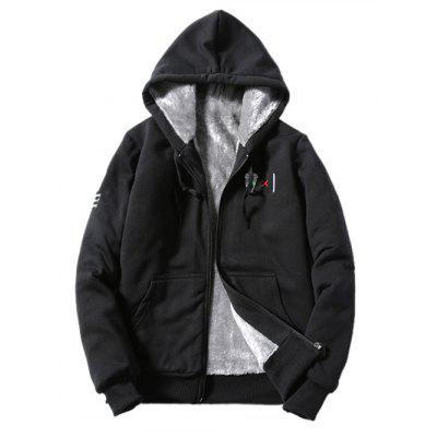 Hooded Coffee Cup Embroidered Zip-Up Fleece Hoodie
