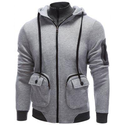 Pocket Design Zippered Drawstring Hoodie