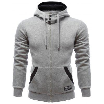 Hooded Buttons Embellished Zip-Up Hoodie