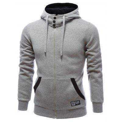 Hooded Buttons Embellished Zip-Up HoodieMens Hoodies &amp; Sweatshirts<br>Hooded Buttons Embellished Zip-Up Hoodie<br><br>Material: Cotton, Polyester<br>Package Contents: 1 x Hoodie<br>Shirt Length: Regular<br>Sleeve Length: Full<br>Style: Fashion<br>Weight: 0.700kg