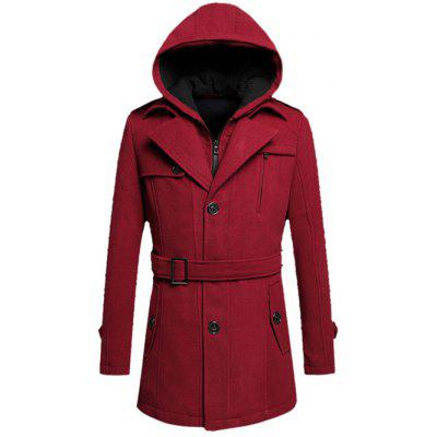 Hooded Belted Tweed Fleece Woolen Coat