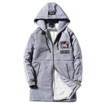 Buy GRAY Hooded Stripe Selvedge Embellished Applique Lengthen Fleece Coat for $44.55 in GearBest store