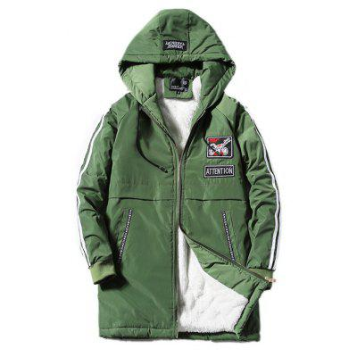 Buy ARMY GREEN Hooded Stripe Selvedge Embellished Applique Lengthen Fleece Coat for $44.55 in GearBest store