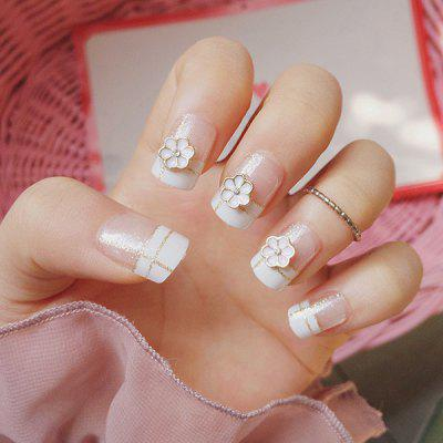 24 PCS Flower Bridal Nail Art Fake Nails