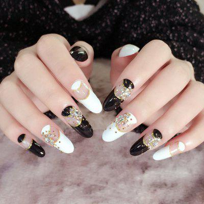 24 PCS Color Block Rhinestone Nail Art Fake Nails