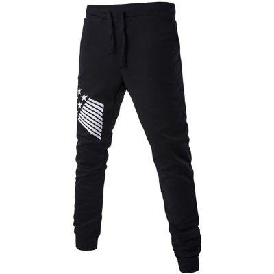 Stripe Star Printed Drawstring Jogger Pants