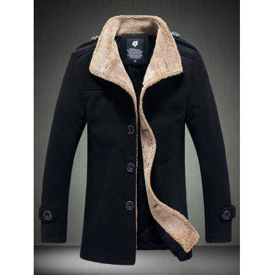 Fleece Plush Lined Single Breasted Stand Collar Woolen Coat