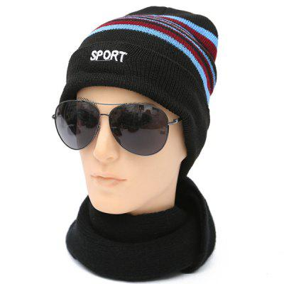 Winter Sport Letter Stripy Flanging Woolen Hat