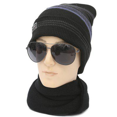 Winter Outdoor Flanging Stripy Knitted Beanie