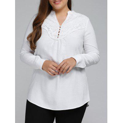 Plus Size Long Sleeve Lace Spliced Crochet Tops