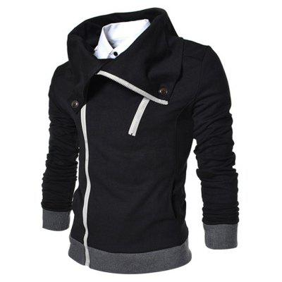 Zipped Turn Down Collar Thicken Jacket