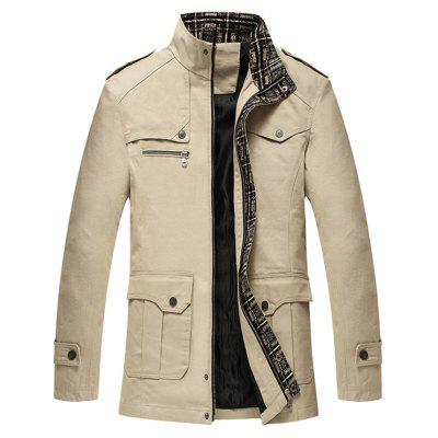 Buy KHAKI Epaulet Embellished Stand Collar Multi Pockets Jacket for $27.67 in GearBest store