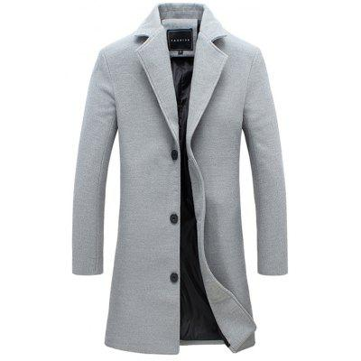 Single-Breasted Lapel Slim Woolen Coat
