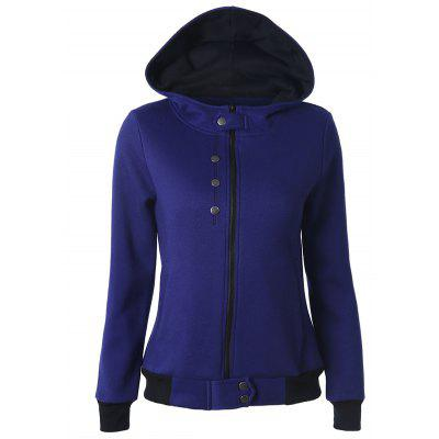 Buy DEEP BLUE XL Casual Buttoned Long Sleeve Zipper Up Dark Blue Hoodie for $16.29 in GearBest store