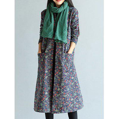 Floral Frog Button Long Maxi Coat
