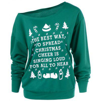 Christmas Graphic Pullover Skew Neck Green Sweatshirt