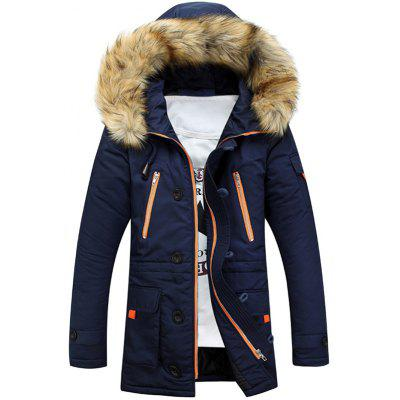 Faux Fur Hooded Zip Up Multi-Pocket Padded Coat