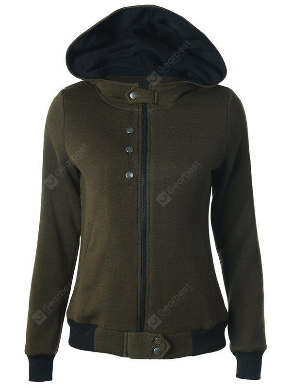 Sleeve Casual abotoado Longo Zipper Up Hoodie azul escuro