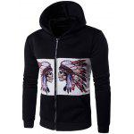 Hooded Zip-Up Symmetrical Indian Skull Print Hoodie