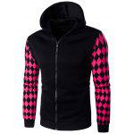 Hooded Zip-Up Argyle Print Hoodie - BLACK